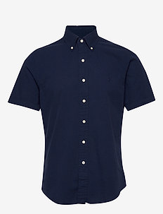 Custom Fit Seersucker Shirt - overhemden korte mouwen - astoria navy