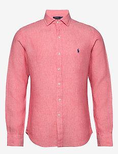 Slim Fit Linen Chambray Shirt - basic shirts - 4366j salmon