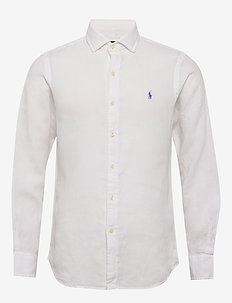 Slim Fit Linen Chambray Shirt - white