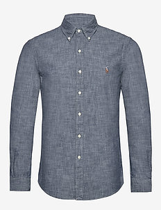 Slim Fit Indigo Chambray Shirt - basic shirts - dark indigo