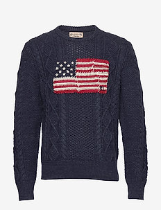 Aran Patchwork-Flag Sweater - rundhalsad - navy ragg