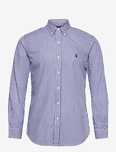 Slim Fit Striped Poplin Shirt - ternede skjorter - 4655a navy/white