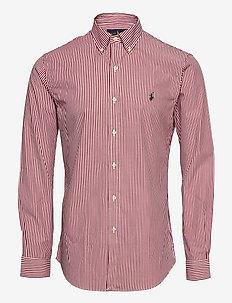 Slim Fit Striped Poplin Shirt - karierte hemden - 4655b wine/white