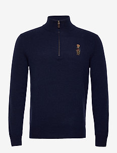 WOOL CASHMERE-LSL-SWT - half zip jumpers - hunter navy