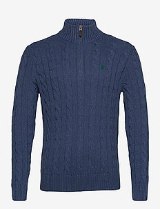 Cable-Knit Cotton Sweater - half zip - derby blue heathe