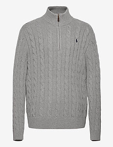 Cable-Knit Cotton Sweater - half zip jumpers - fawn grey heather