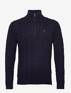 Cable-Knit Cotton Sweater - half zip-tröjor - hunter navy