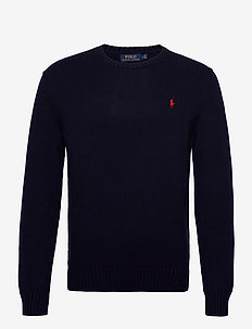 Cotton Crewneck Sweater - stickade basplagg - hunter navy