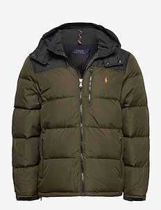 Color-Blocked Down Jacket - padded jackets - company olive/ po