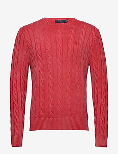 Cable-Knit Cotton Sweater - stickade basplagg - rouge
