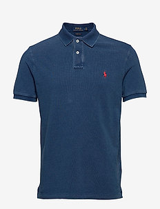 BASIC MESH-SSL-KNT - polos à manches courtes - medium indigo