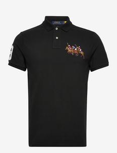 Custom Slim Fit Triple-Pony Polo Shirt - short-sleeved polos - polo black