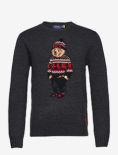 Lunar New Year Polo Bear Sweater - rund hals - charcoal heather