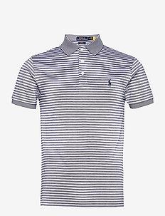 Slim Fit Striped Stretch Mesh Polo Shirt - short-sleeved polos - freshwater/white