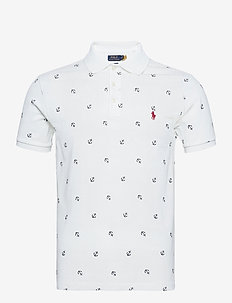 Slim Fit Anchor Stretch Mesh Polo Shirt - short-sleeved polos - white resort anch