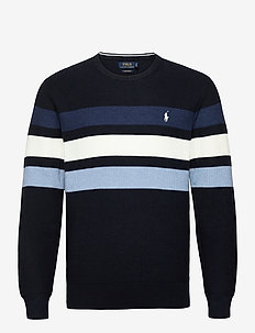 Striped Cotton Mesh Sweater - rundhals - navy heather mult