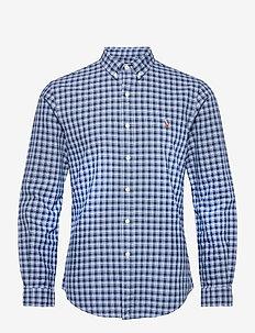 Slim Fit Tattersall Oxford Shirt - oxford-skjortor - 5209 navy/blue mu