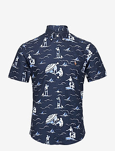 Slim Fit Swimmer-Print Oxford Shirt - oxford-paidat - 5248 deco swimmer