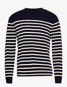 Striped Cotton-Cashmere Crewneck Sweater - rund hals - navy cream