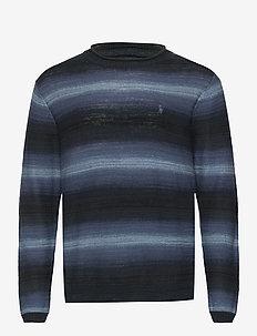 Striped Cotton-Linen Crewneck Sweater - rund hals - navy stripe