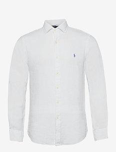 Slim Fit Linen Shirt - peruspaitoja - white