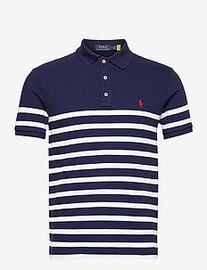 Custom Slim Fit Spa Terry Polo Shirt - kurzärmelig - newport navy/whit