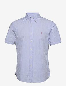 Custom Fit Striped Seersucker Shirt - lyhythihaiset paidat - 2604c light blue/