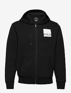 Logo Double-Knit Hoodie - basic sweatshirts - polo black