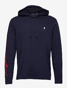 Logo Jersey Hooded T-Shirt - basic sweatshirts - cruise navy