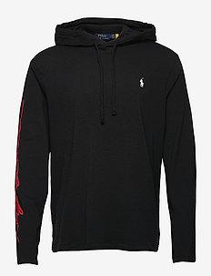 Logo Jersey Hooded T-Shirt - basic sweatshirts - polo black