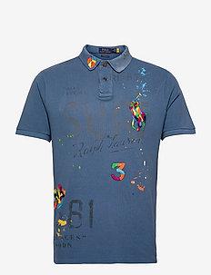 Custom Slim Fit Mesh Polo Shirt - polos à manches courtes - delta blue