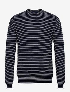 Striped Cotton Crewneck Sweater - pulls col rond - navy stripe