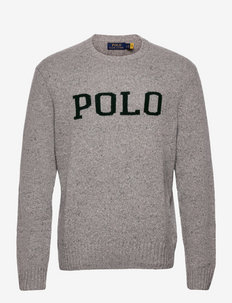 Logo Speckled Wool-Blend Sweater - pulls col rond - grey donegal