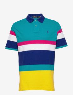 Classic Fit Striped Mesh Polo Shirt - krótki rękaw - racing yellow mul