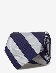 Striped Silk Repp Narrow Tie - NAVY/WHITE