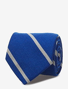 Striped Wool-Silk Narrow Tie - ROYAL/WHITE