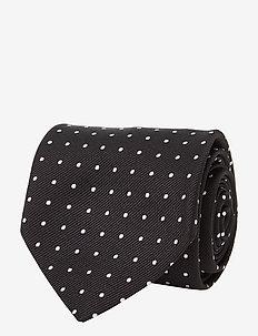 Dot Silk Repp Narrow Tie - BLACK/WHITE