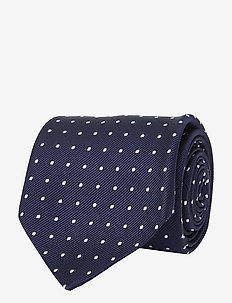 Dot Silk Repp Narrow Tie - NAVY/WHITE