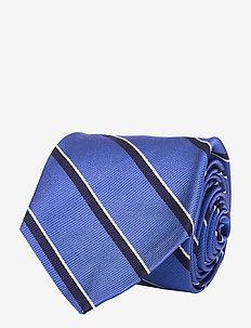 Striped Silk Narrow Tie - krawatten - blue
