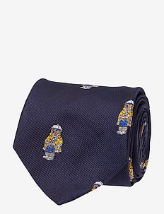 Nautical Bear Silk Narrow Tie - NAVY