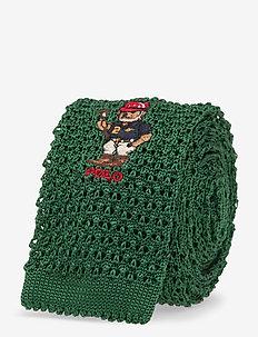 Riding Bear Knit Silk Tie - slips - green
