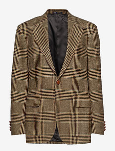 The RL67 Glen Plaid Jacket - BLACK AND CREAM W
