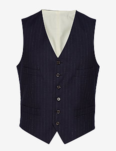 STRP COTTON FLANNEL-VEST - NAVY AND WHITE