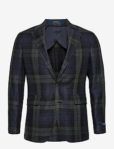 Polo Soft Tartan Linen-Blend Sport Coat - enkelknäppta kavajer - blackwatch