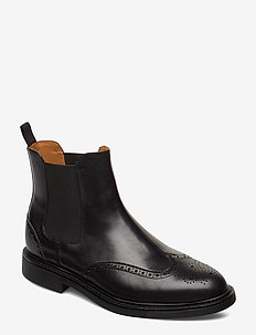 Asher Wingtip Chelsea Boot - BLACK