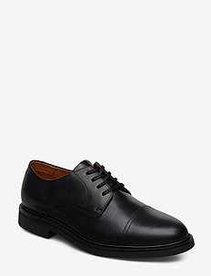 Asher Leather Cap Toe Shoe - BLACK