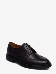 Asher Leather Wingtip - BLACK