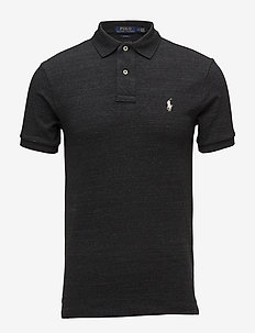 Slim Fit Mesh Polo Shirt - BLACK COAL HEAT