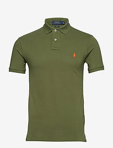 Slim Fit Mesh Polo Shirt - short-sleeved polos - supply olive