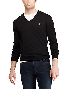 Slim Fit Cotton V-Neck Sweater - basic knitwear - polo black